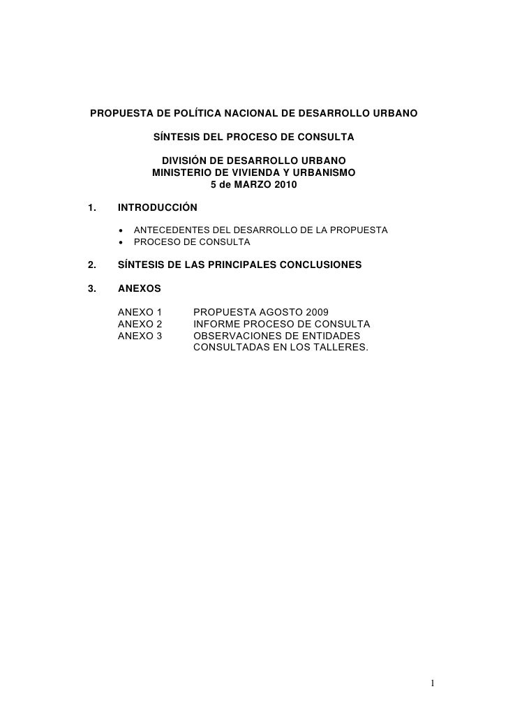 PROPUESTA DE POLÍTICA NACIONAL DE DESARROLLO URBANO              SÍNTESIS DEL PROCESO DE CONSULTA               DIVISIÓN D...