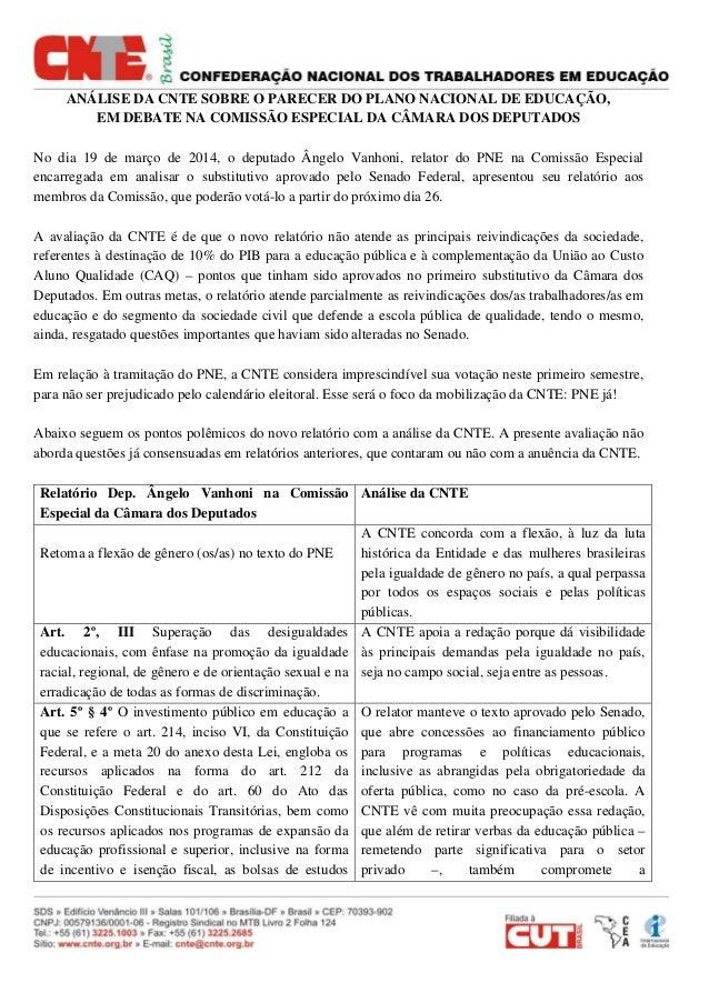 ANÁLISE DA CNTE SOBRE O PARECER DO PLANO NACIONAL DE EDUCAÇÃO, EM DEBATE NA COMISSÃO ESPECIAL DA CÂMARA DOS DEPUTADOS No d...