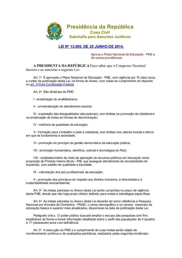 Presidência da República Casa Civil Subchefia para Assuntos Jurídicos LEI Nº 13.005, DE 25 JUNHO DE 2014. Aprova o Plano N...