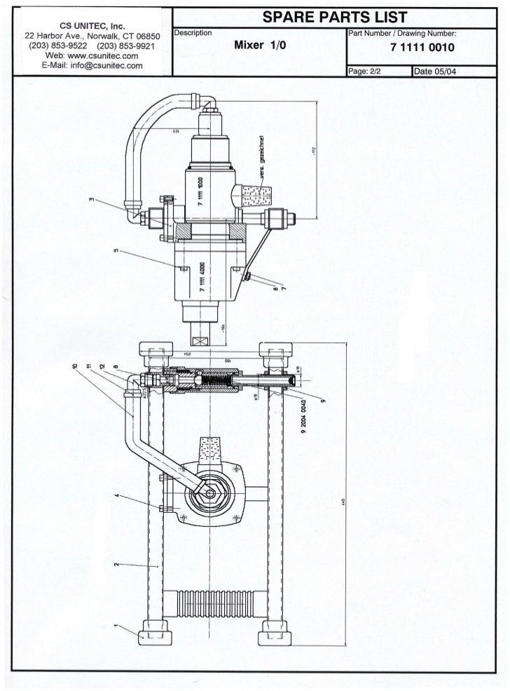 CS UNITEC                                      Mixer Model 7 1111 0010 - Parts List                                       ...