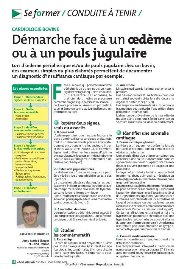 Le Point Vétérinaire / N° 242 / Janvier-Février 2004 /38 Se former / CONDUITE ÀTENIR / ace à un bovin qui présente un œdèm...