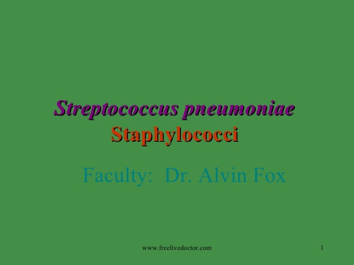 Streptococcus pneumoniae   Staphylococci   Faculty:  Dr. Alvin Fox www.freelivedoctor.com