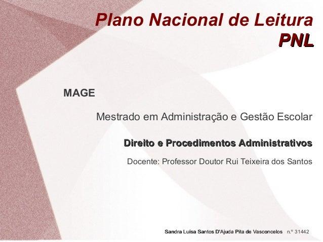 Plano Nacional de Leitura PNL  Docente: Professor Doutor Rui Teixeira Santos (ESE Jean Piaget, Almada), 2013