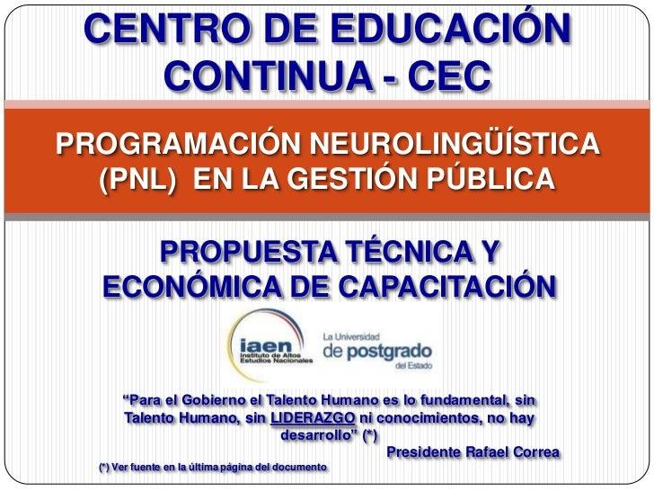 Pnl en la gestión pública   propuesta- cec - iaen