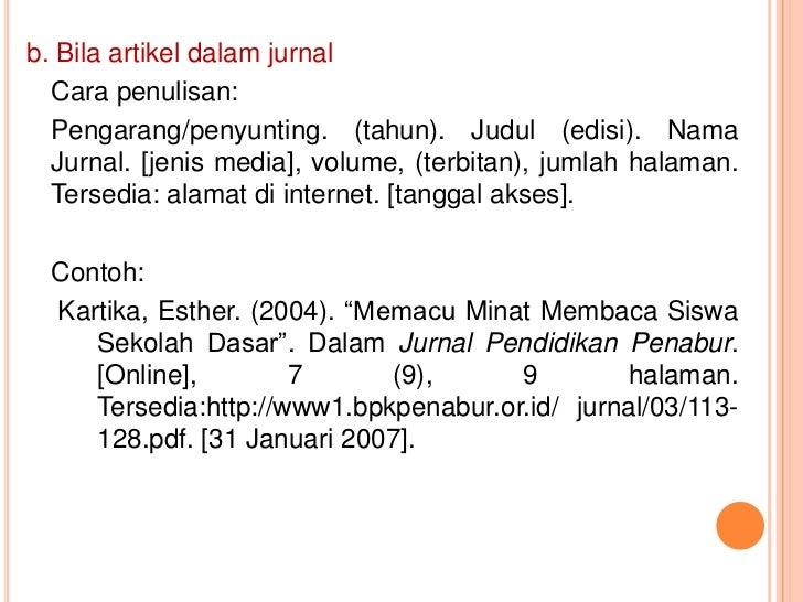 Contoh Daftar Pustaka Jurnal
