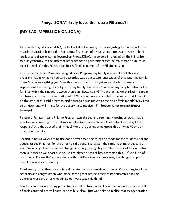 P noy 2013 sona reaction paper