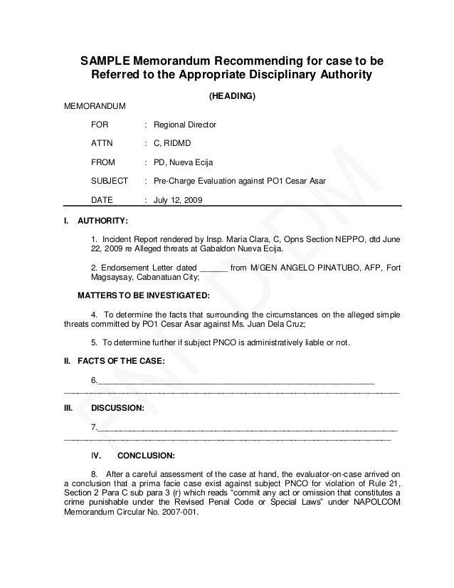 Pnp memorandum letter sle 28 images pnp pre charge evaluation pnp memorandum letter sle pnp pre charge evaluation and summary hearing guide spiritdancerdesigns Gallery