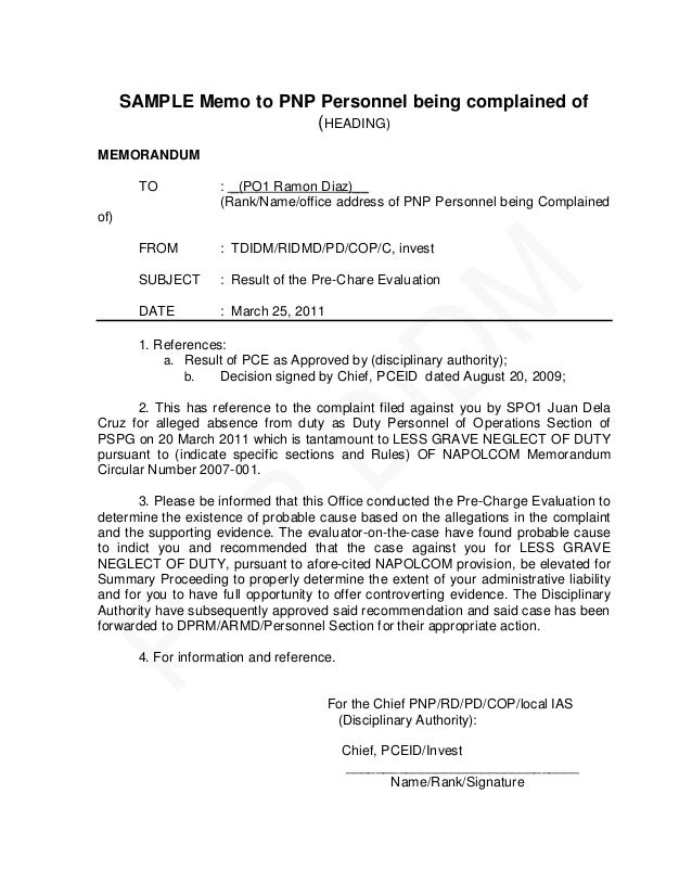 sample memo to pnp personnel being complained of heading memorandum