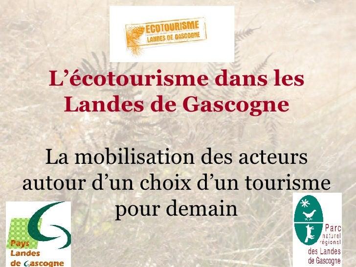L'écotourisme dans les Landes de Gascogne La mobilisation des acteurs autour d'un choix d'un tourisme pour demain