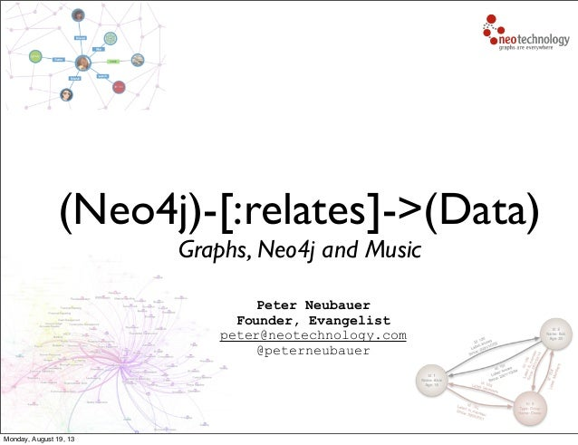 (Neo4j)-[:relates]->(Data) Graphs, Neo4j and Music Peter Neubauer Founder, Evangelist peter@neotechnology.com @peterneubau...