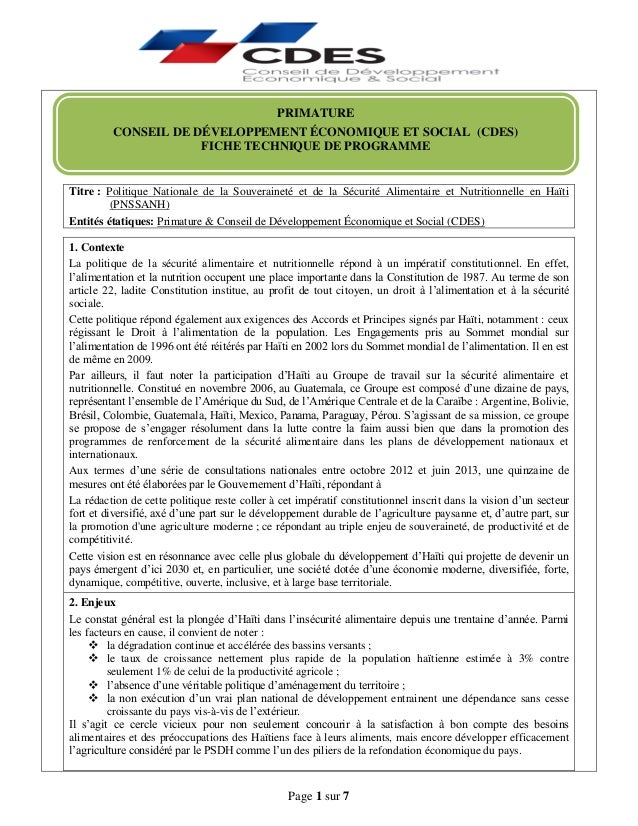 Page 1 sur 7 Titre : Politique Nationale de la Souveraineté et de la Sécurité Alimentaire et Nutritionnelle en Haïti (PNSS...