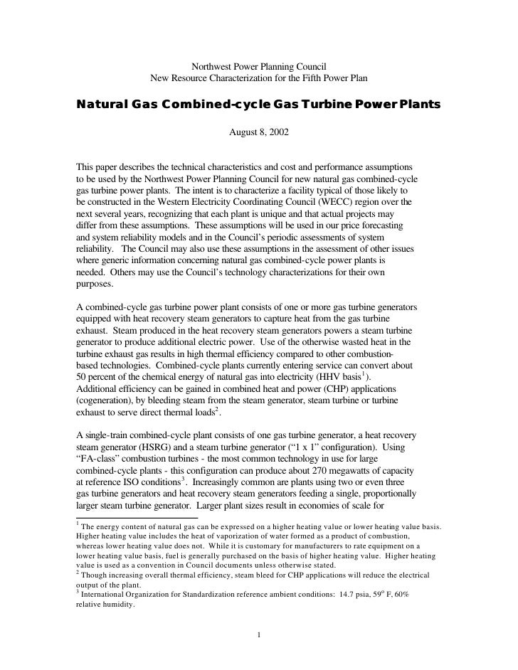 Northwest Power Planning Council                     New Resource Characterization for the Fifth Power PlanNatural Gas Com...