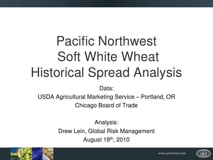 Pacific Northwest Soft White Wheat Historical Spread Analysis<br />Data: <br />USDA Agricultural Marketing Service – Portl...
