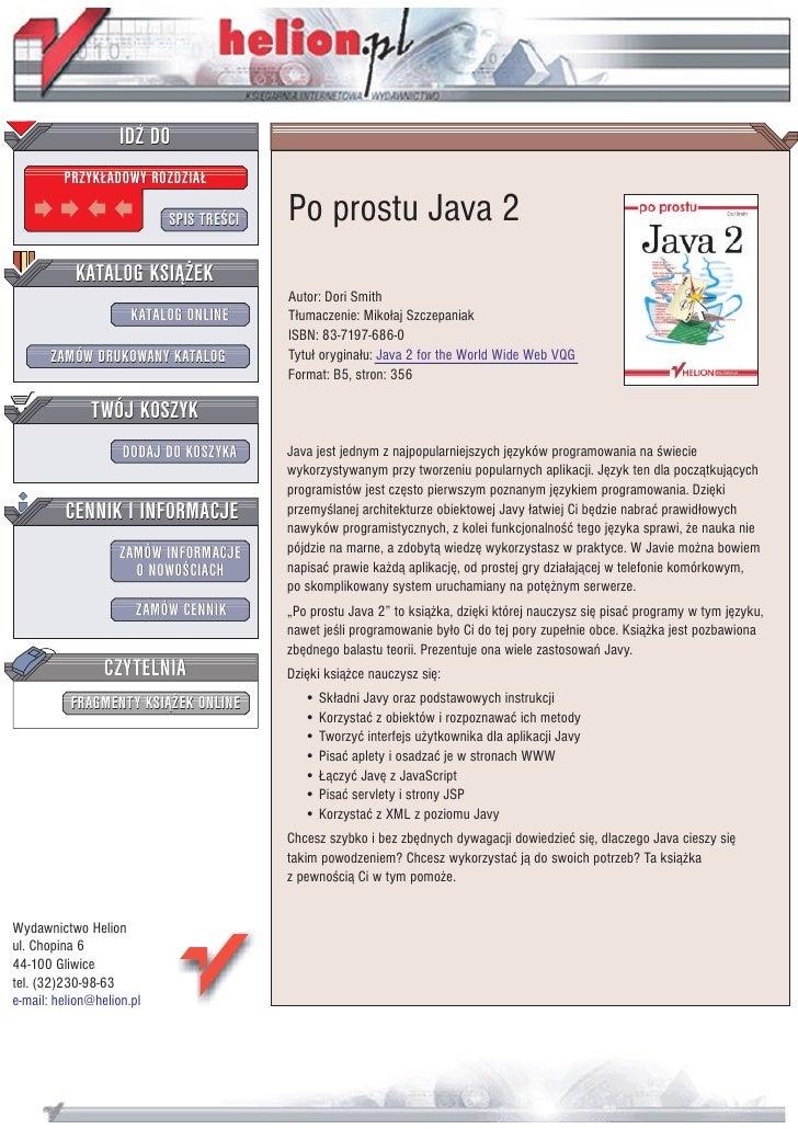 IDZ DO          PRZYK£ADOWY ROZDZIA£                             SPIS TRE CI   Po prostu Java 2            KATALOG KSI¥¯EK...
