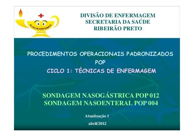 PROCEDIMENTOS OPERACIONAIS PADRONIZADOS POP CICLO 1: TÉCNICAS DE ENFERMAGEM DIVISÃO DE ENFERMAGEM SECRETARIA DA SAÚDE RIBE...