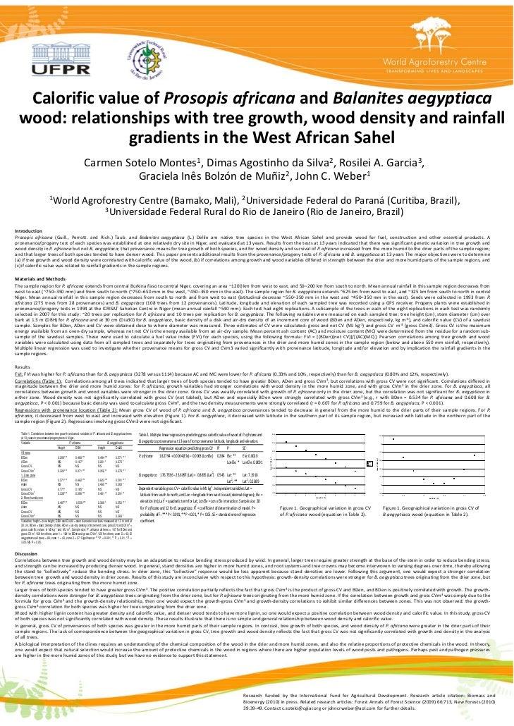 CalorificvalueofProsopis   Calorific value of Prosopis africana and Balanites aegyptiaca                               ...