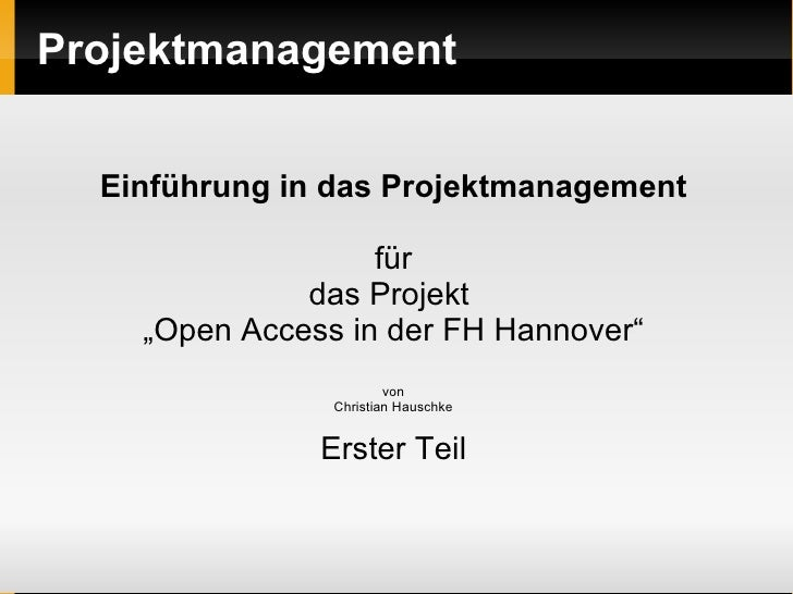 POA - Projektmanagement Phase I