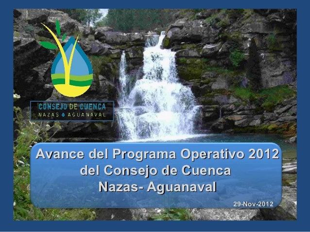 Avance del Programa Operativo 2012     del Consejo de Cuenca        Nazas- Aguanaval                           29-Nov-2012