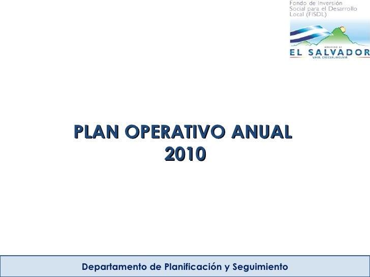 PLAN OPERATIVO ANUAL  2010