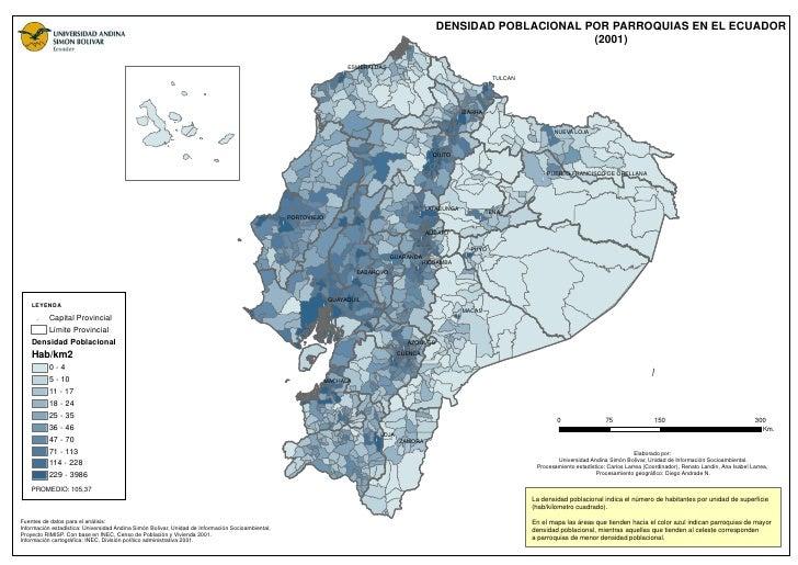DENSIDAD POBLACIONAL POR PARROQUIAS EN EL ECUADOR                                                                         ...
