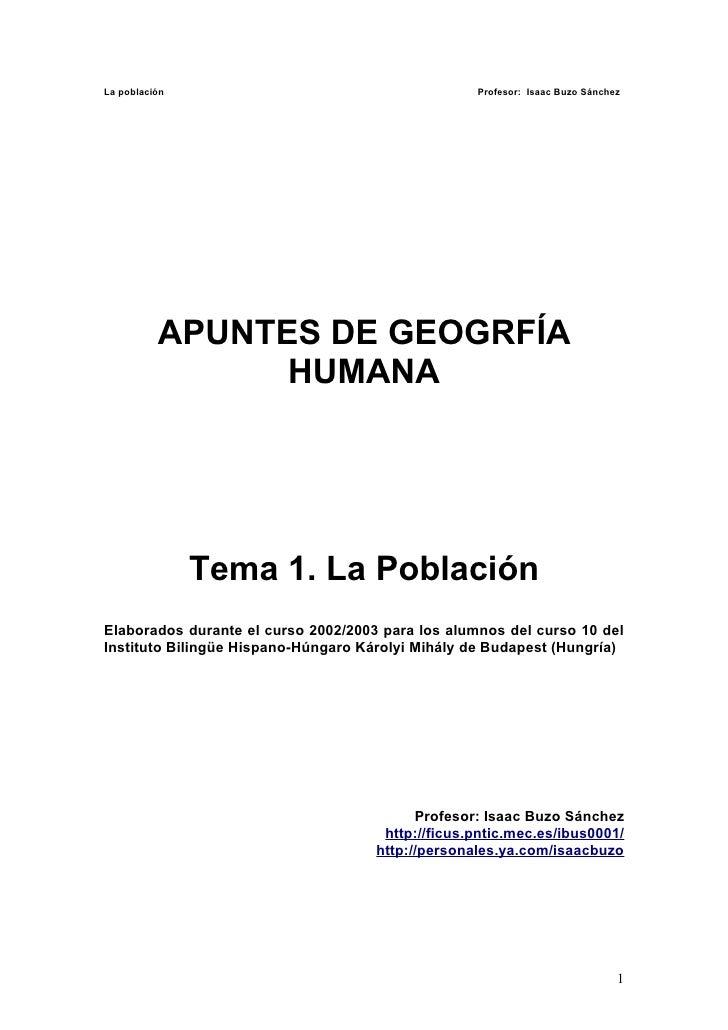 La población                                       Profesor: Isaac Buzo Sánchez               APUNTES DE GEOGRFÍA         ...