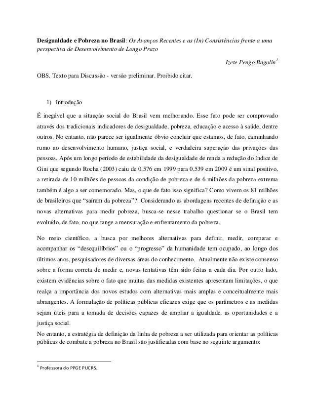 Desigualdade e Pobreza no Brasil: Os Avanços Recentes e as (In) Consistências frente a umaperspectiva de Desenvolvimento d...