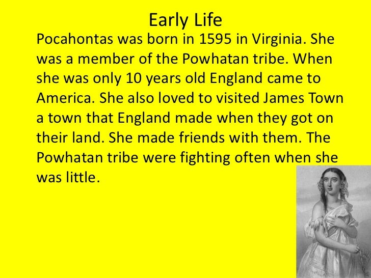 an introduction to the story of pocahontas Though cyndi spindell berck's book is called pocahontas and sacagawea: interwoven legacies in american history, only a small portion of the work actually focuses on the two women named in the titleonly two out of the 11 chapters focus on pocahontas and sacagawea the book is, in fact, a history of native american-white relations in what is now the united states from the early stages of.