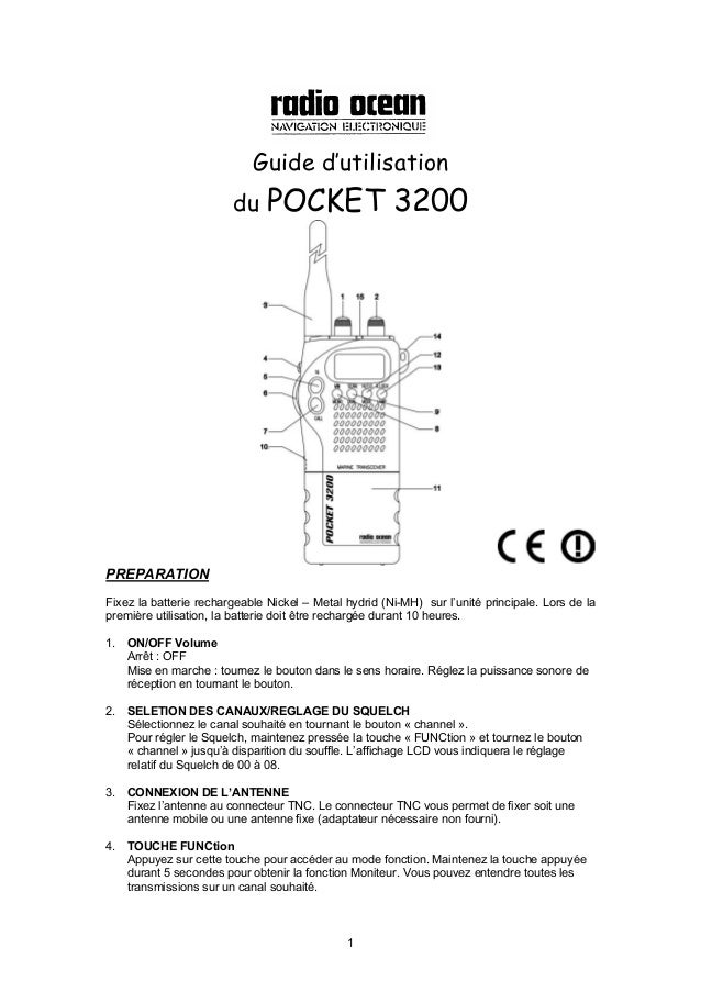 1 Guide d'utilisation du POCKET 3200 PREPARATION Fixez la batterie rechargeable Nickel – Metal hydrid (Ni-MH) sur l'unité ...