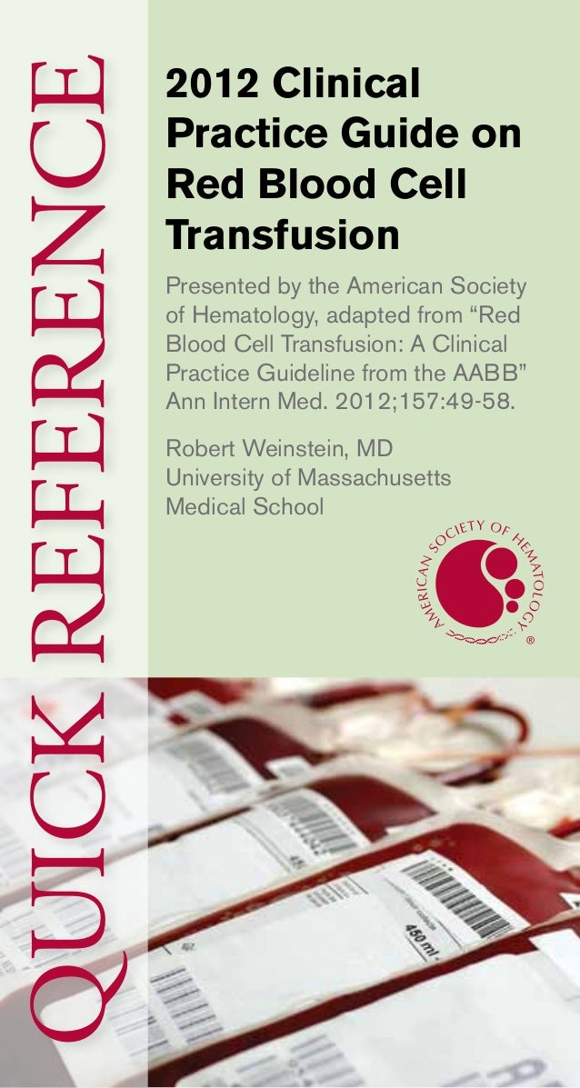 Pocket guide on red cells (Blood Transfusion) 2012