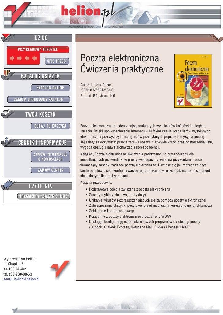 Poczta elektroniczna. Ćwiczenia praktyczne