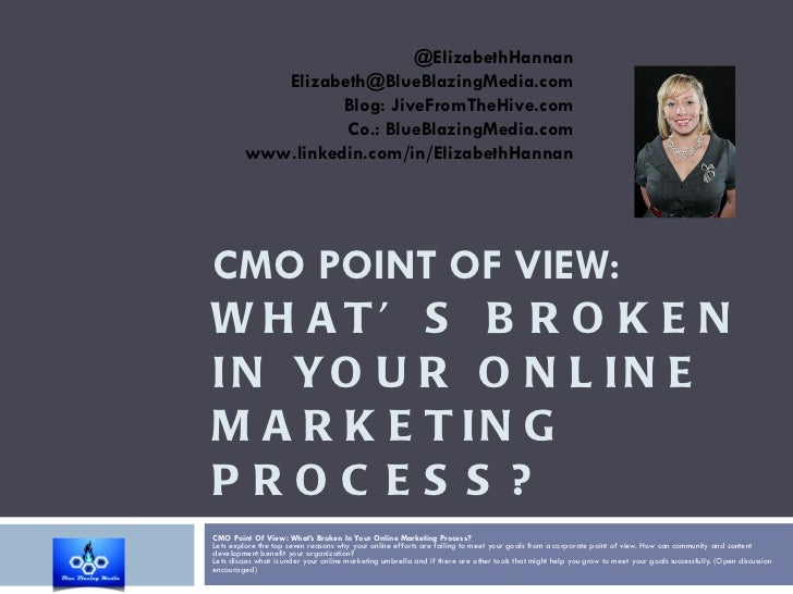 CMO POINT OF VIEW:  WHAT'S BROKEN IN YOUR ONLINE MARKETING PROCESS? CMO Point Of View: What's Broken In Your Online Market...