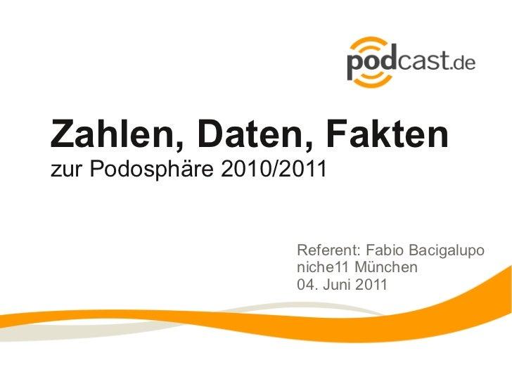Zahlen, Daten, Faktenzur Podosphäre 2010/2011                     Referent: Fabio Bacigalupo                     niche11 M...