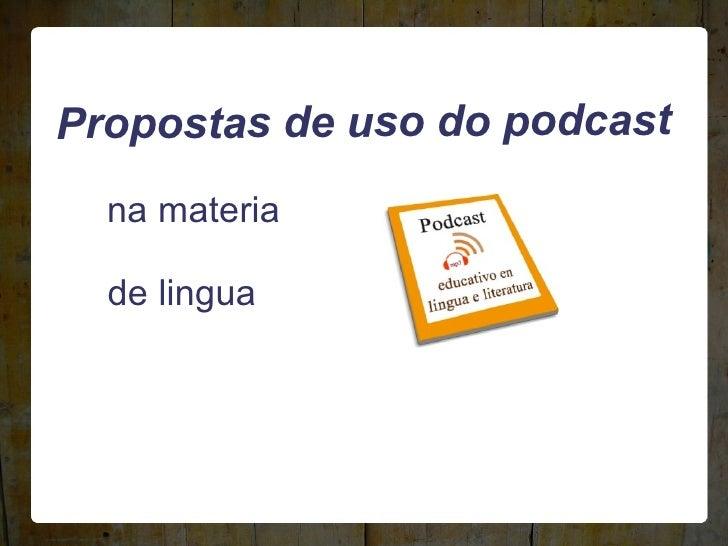 Podcast en lingua e literatura