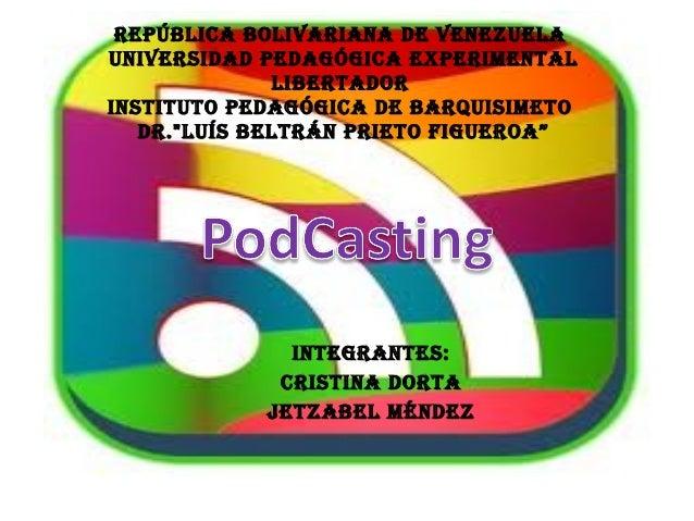 REPÚBLICA BOLIVARIANA DE VENEZUELA UNIVERSIDAD PEDAGÓGICA EXPERIMENTAL LIBERTADOR INSTITUTO PEDAGÓGICA DE BARQUISIMETO DR....