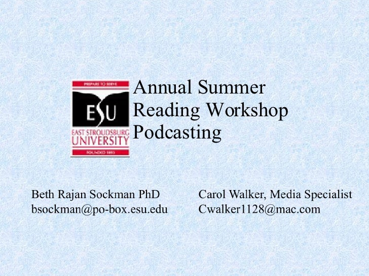 Annual Summer Reading Workshop Podcasting