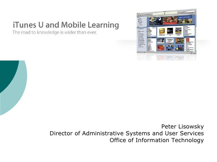 Mobile Learning and iTunes University