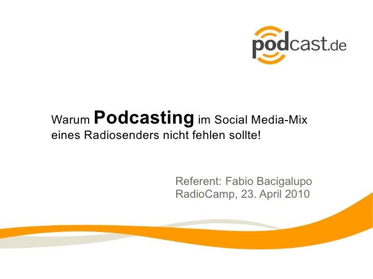 Warum  Podcasting  im Social Media-Mix eines Radiosenders nicht fehlen sollte! Referent:  Fabio Bacigalupo  RadioCamp, 23....