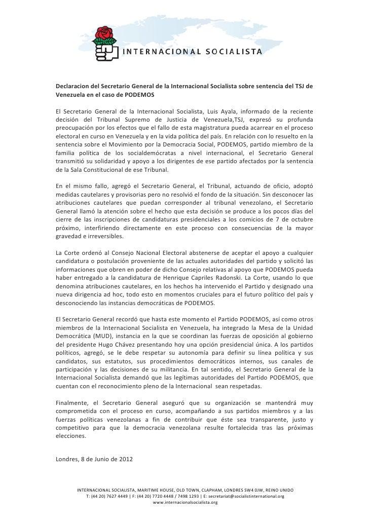 Declaracion del Secretario General de la Internacional Socialista sobre sentencia del TSJ deVenezuela en el caso de PODEMO...