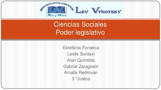 Estefania Fonseca Leslie Suntaxi Alan Quimbita Gabriel Zaragosín Amalia Redrovan 3 °Justos Ciencias Sociales Poder legisla...