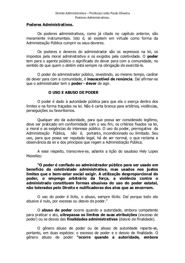 Resumo Poderes Administrativos | prof. João Paulo
