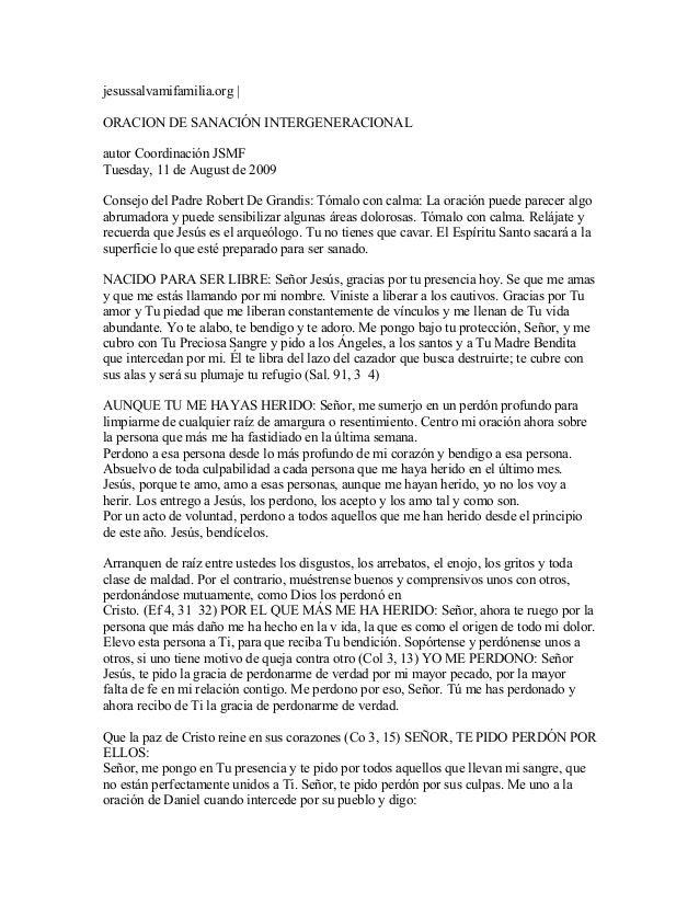 jesussalvamifamilia.org | ORACION DE SANACIÓN INTERGENERACIONAL autor Coordinación JSMF Tuesday, 11 de August de 2009 Cons...