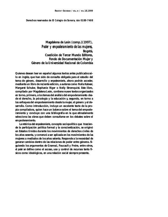 REGIÓN Y SOCIEDAD / VOL. XI / NO. 18.1999  Derechos reservados de El Colegio de Sonora, ISSN 0188-7408  Magdalena de León ...
