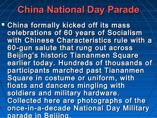 China National Day Parade   China formally kicked off its mass    celebrations of 60 years of Socialism    with Chinese C...