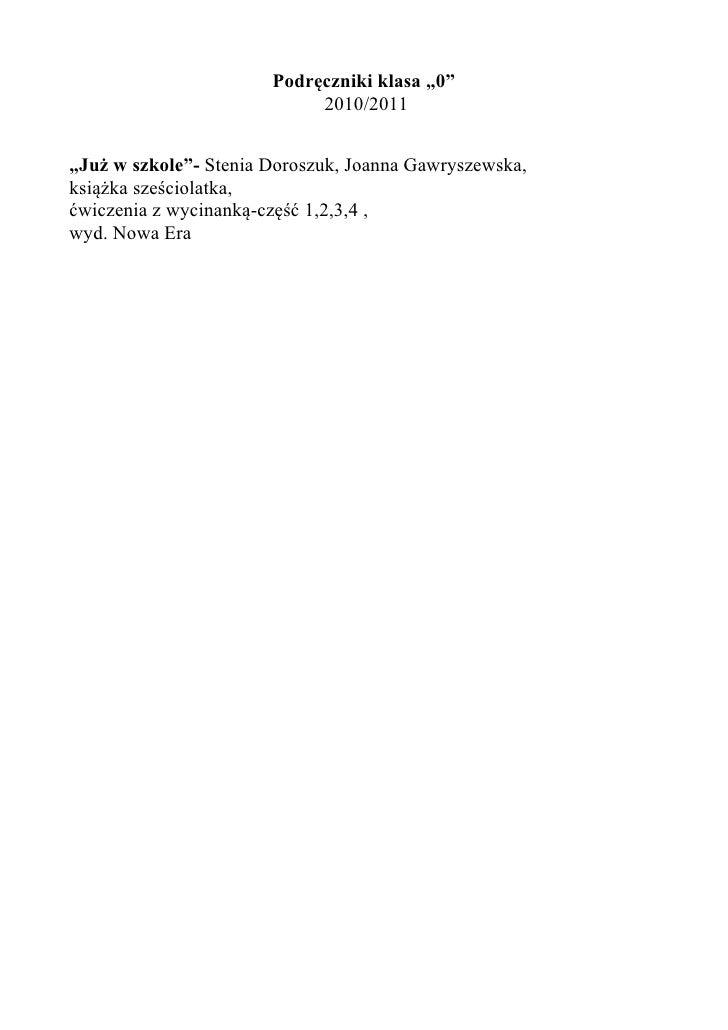 """Podręczniki klasa """"0""""                             2010/2011   """"Już w szkole""""- Stenia Doroszuk, Joanna Gawryszewska, książk..."""
