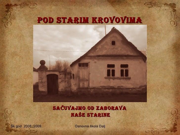 POD STARIM KROVOVIMA SAČUVAJMO OD ZABORAVA   NAŠE STARINE Šk.god. 2008./2009. Osnovna škola Dalj