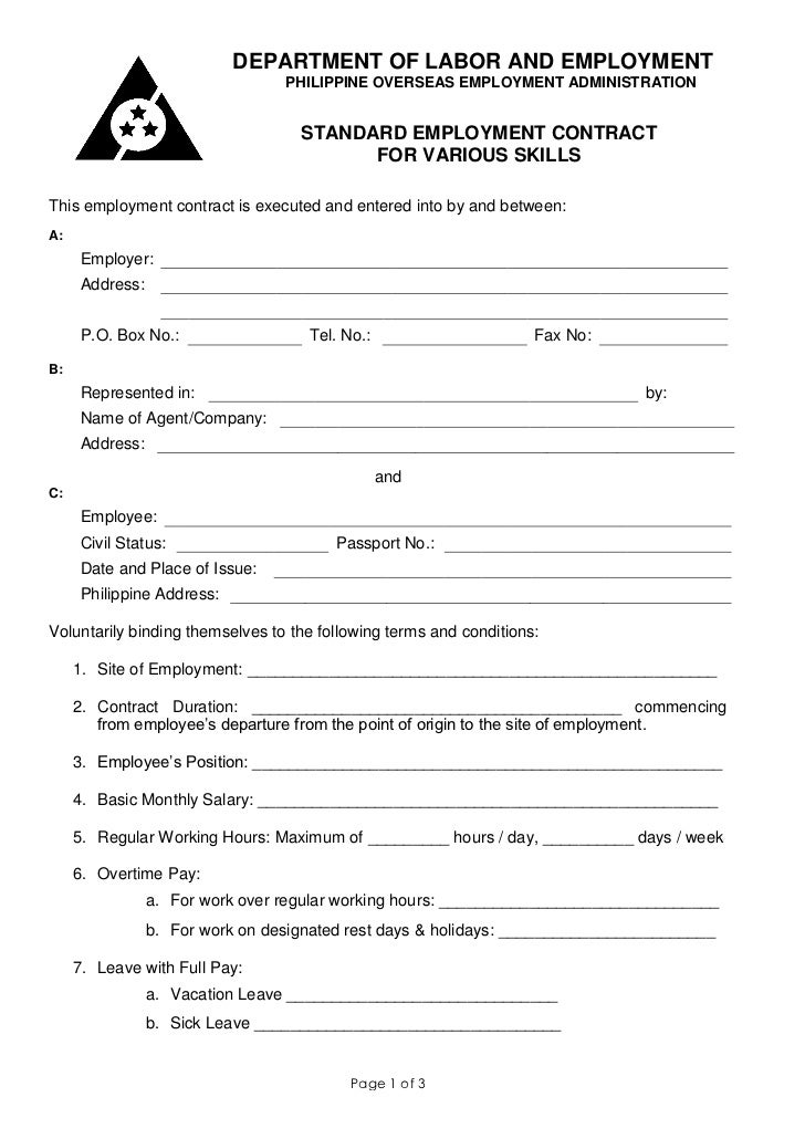 standard contract of employment template - poea standard employment contract for various services