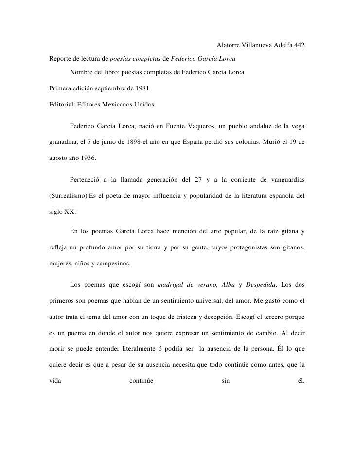 Alatorre Villanueva Adelfa 442Reporte de lectura de poesías completas de Federico García Lorca       Nombre del libro: poe...