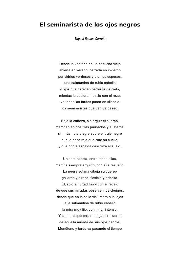 El seminarista de los ojos negros                  Miguel Ramos Carrión            Desde la ventana de un casucho viejo   ...