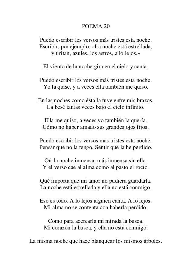 Poema Xx Pablo Neruda Puedo Escribir Los Versos Ms   MEJOR CONJUNTO DE ...