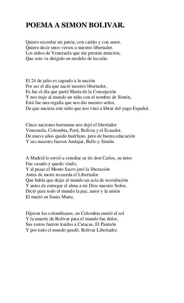 Poema De Simon Bolivar